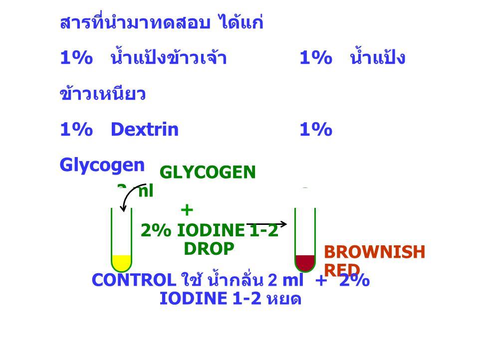 CONTROL ใช้ น้ำกลั่น 2 ml + 2% IODINE 1-2 หยด