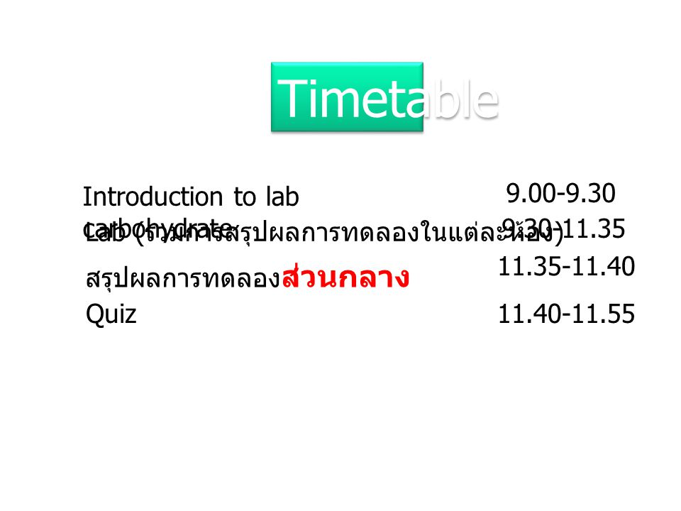 Timetable Introduction to lab carbohydrate 9.00-9.30
