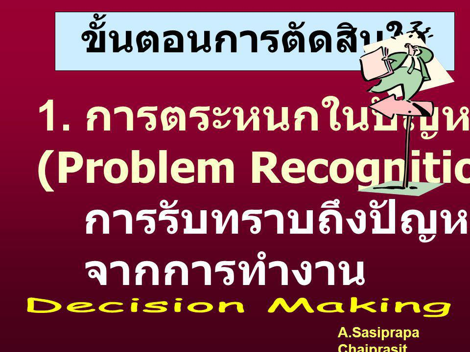 (Problem Recognition) การรับทราบถึงปัญหาที่เริ่มเกิดขึ้น จากการทำงาน