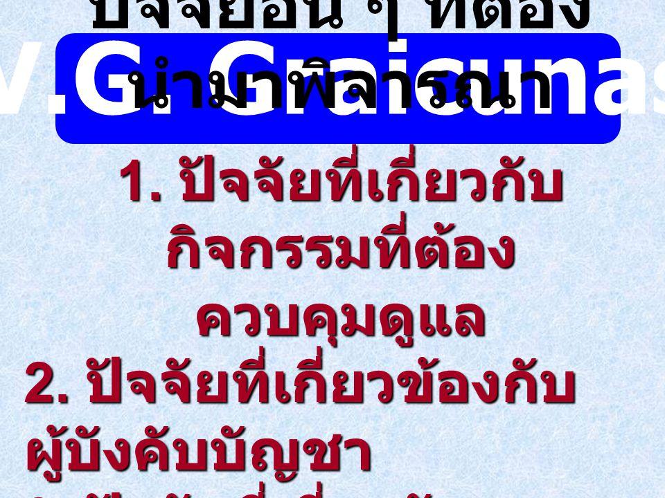 V.G. Graicunas ปัจจัยอื่น ๆ ที่ต้องนำมาพิจารณา