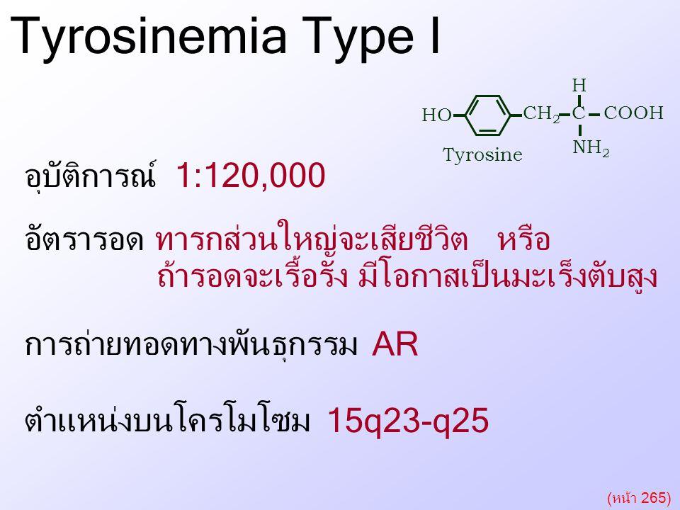 Tyrosinemia Type I Tyrosinemia Type I อุบัติการณ์ 1:120,000 หรือ
