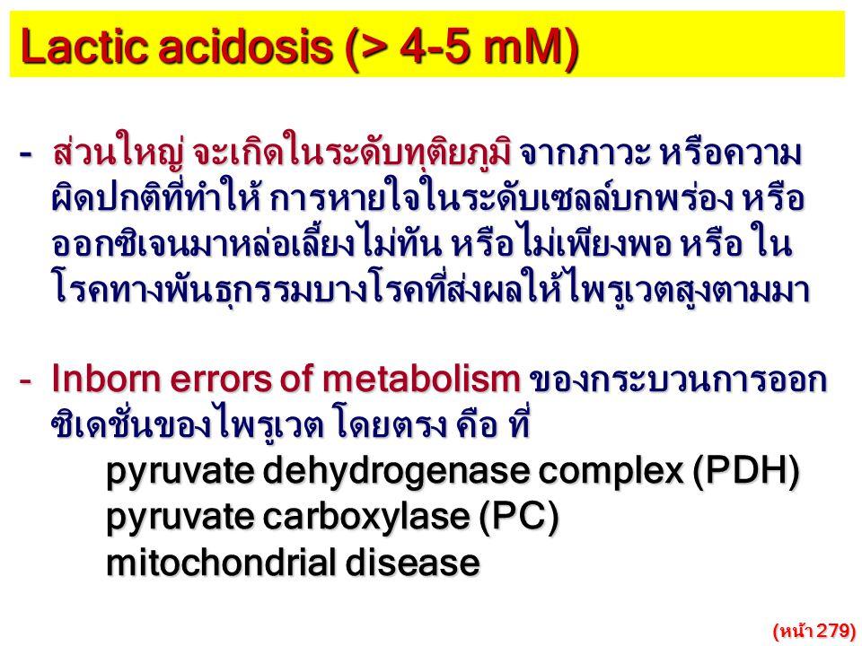 Lactic acidosis (> 4-5 mM)