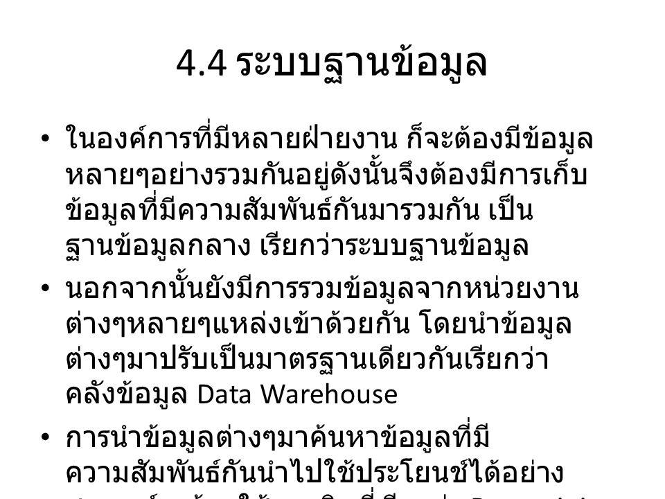 4.4 ระบบฐานข้อมูล