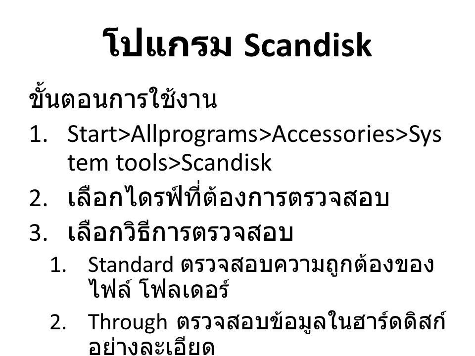 โปแกรม Scandisk ขั้นตอนการใช้งาน