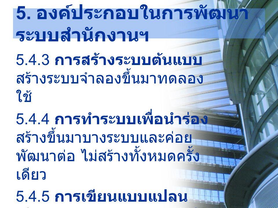 5. องค์ประกอบในการพัฒนาระบบสำนักงานฯ