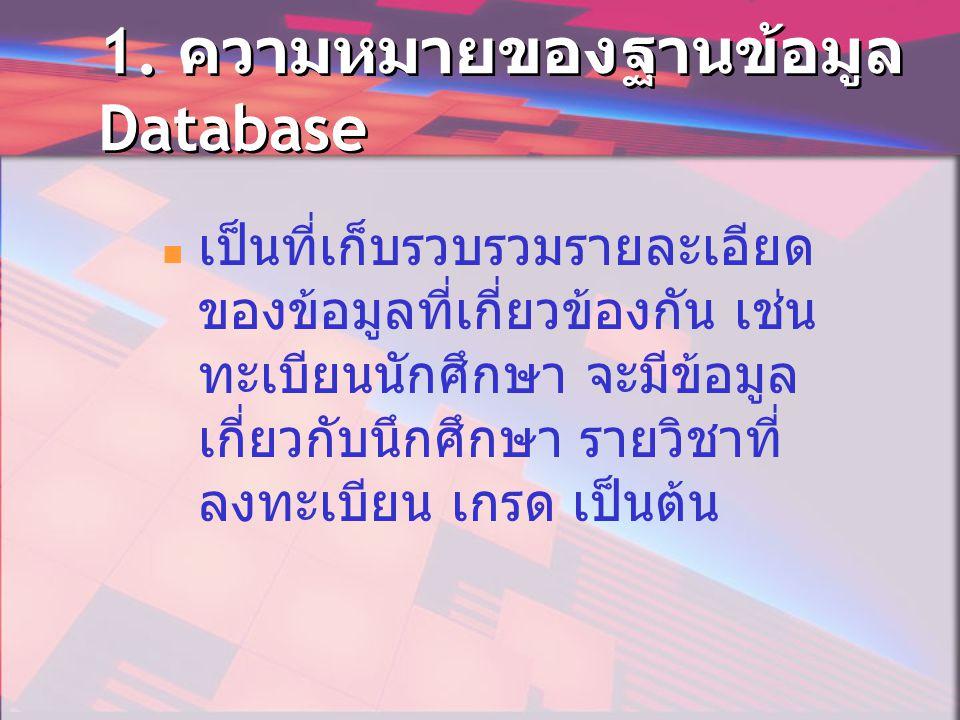 1. ความหมายของฐานข้อมูล Database