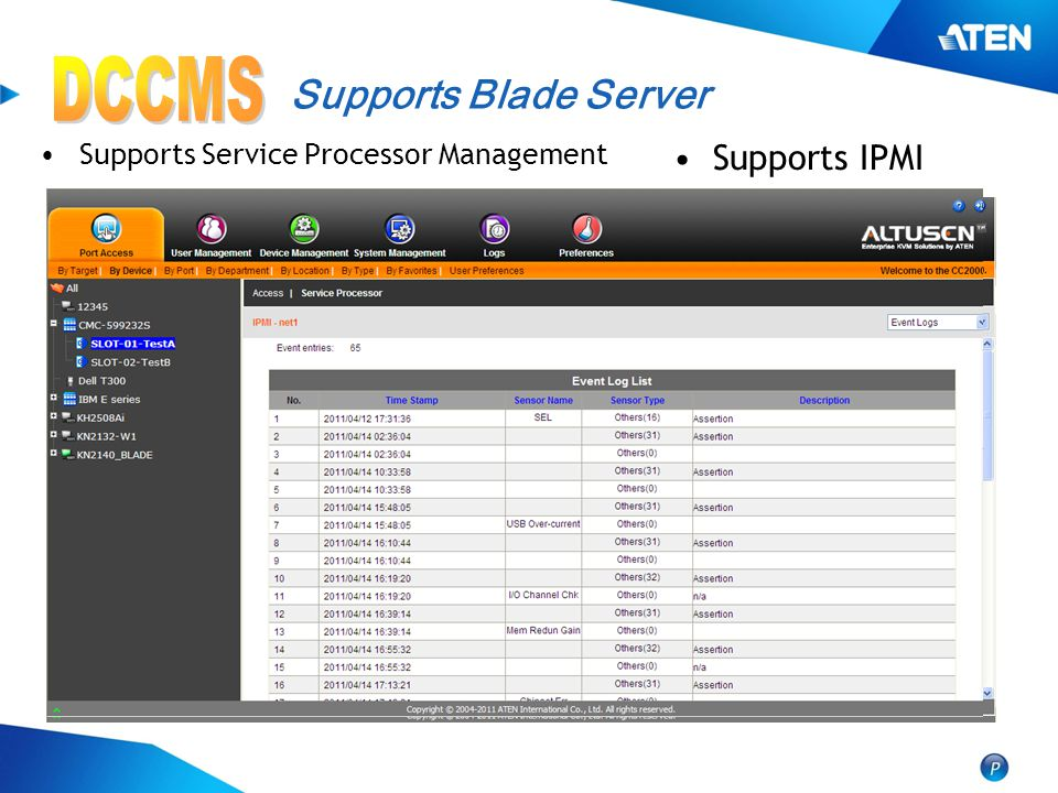 DCCMS Supports Blade Server Supports IPMI