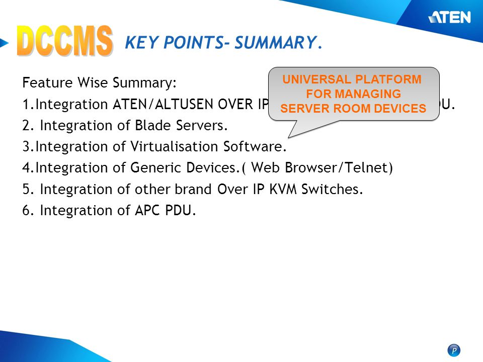 DCCMS KEY POINTS- SUMMARY. Feature Wise Summary:
