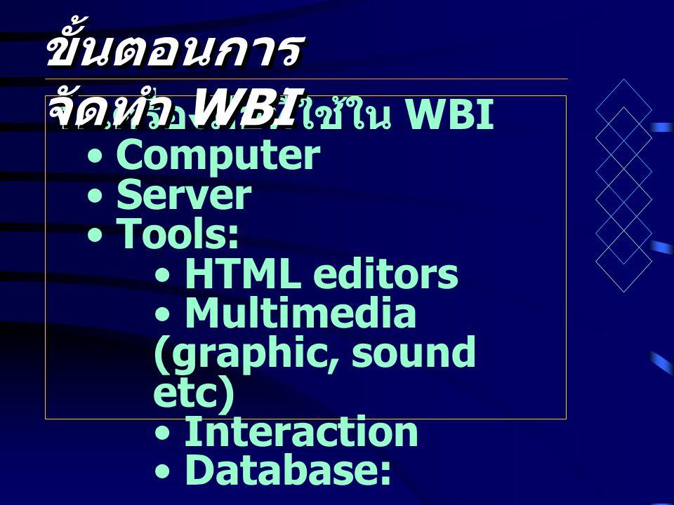 ขั้นตอนการจัดทำ WBI 1. เครื่องมือที่ใช้ใน WBI Computer Server Tools: