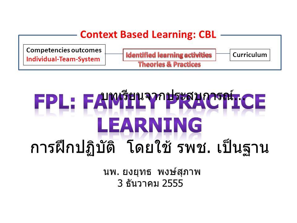 FPL: Family Practice Learning การฝึกปฏิบัติ โดยใช้ รพช. เป็นฐาน