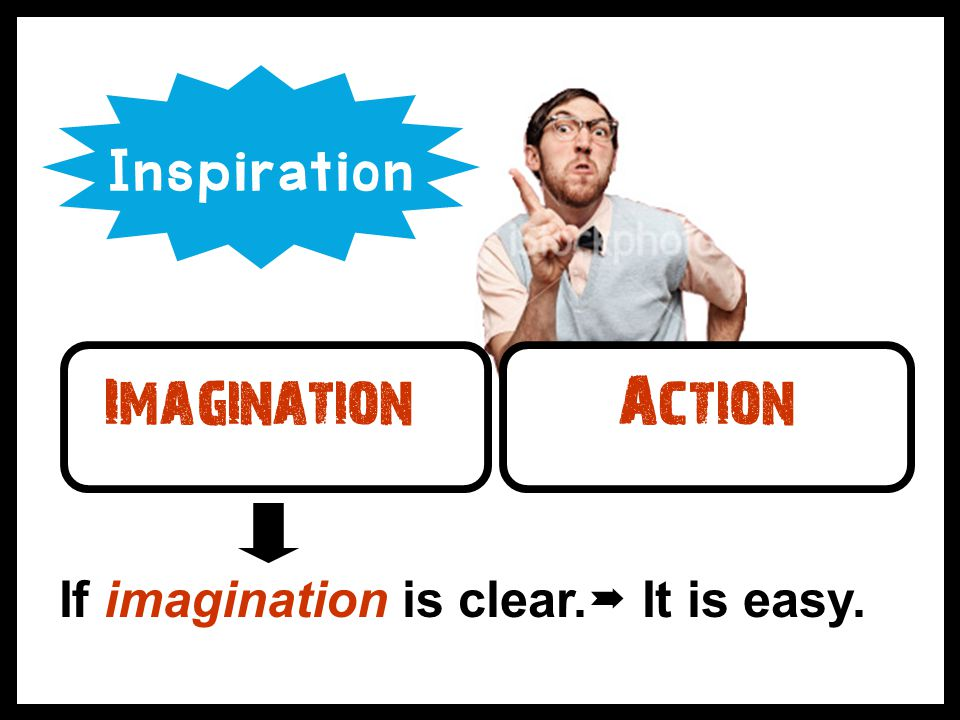 Inspiration Imagination Action If imagination is clear. It is easy.