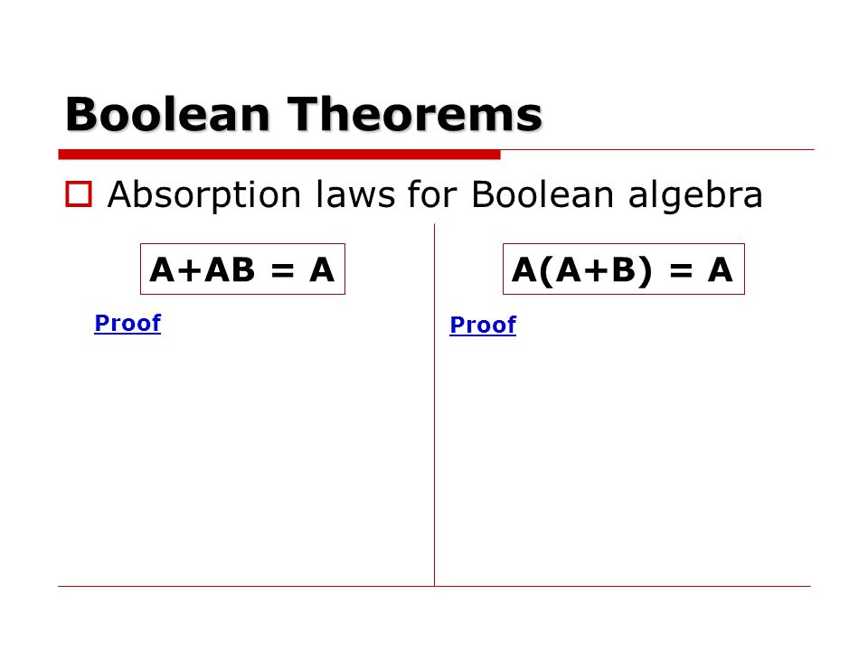 Boolean Theorems Absorption laws for Boolean algebra A+AB = A