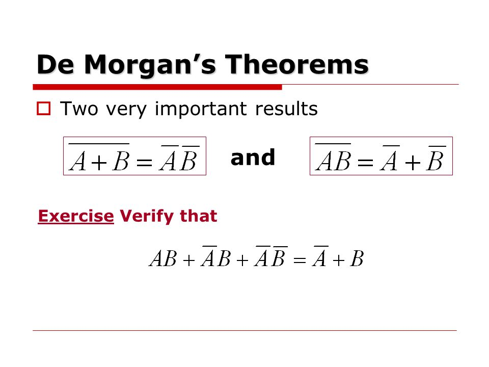 De Morgan's Theorems and Two very important results