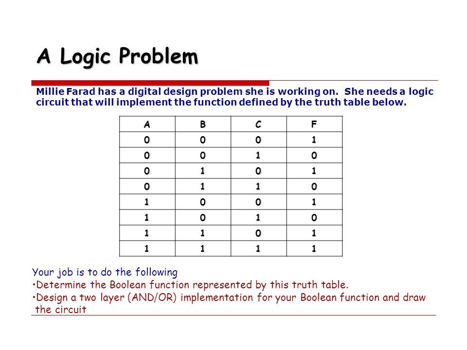 A Logic Problem Your job is to do the following
