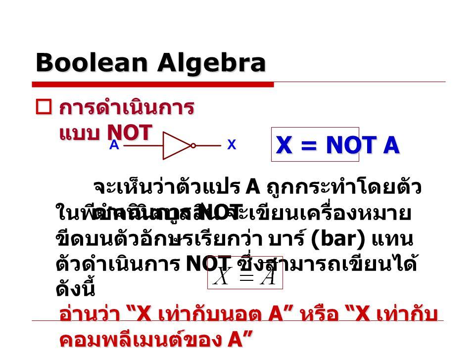 Boolean Algebra X = NOT A การดำเนินการแบบ NOT