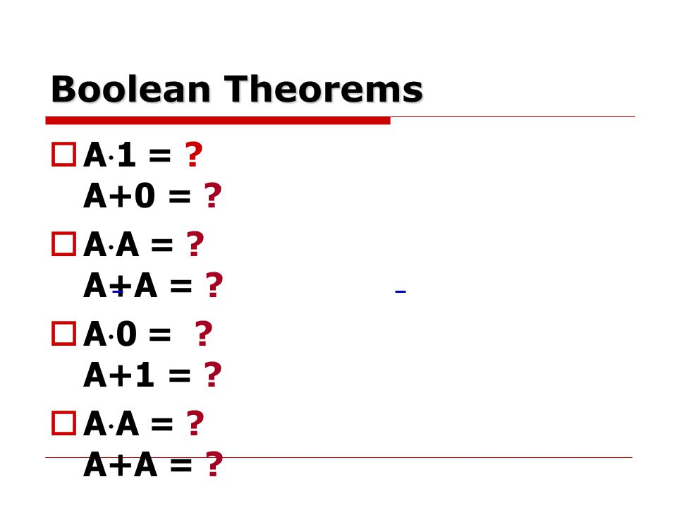Boolean Theorems A1 = A+0 = AA = A+A =