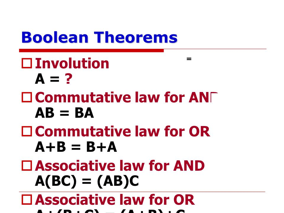 Boolean Theorems Involution A = Commutative law for AND AB = BA
