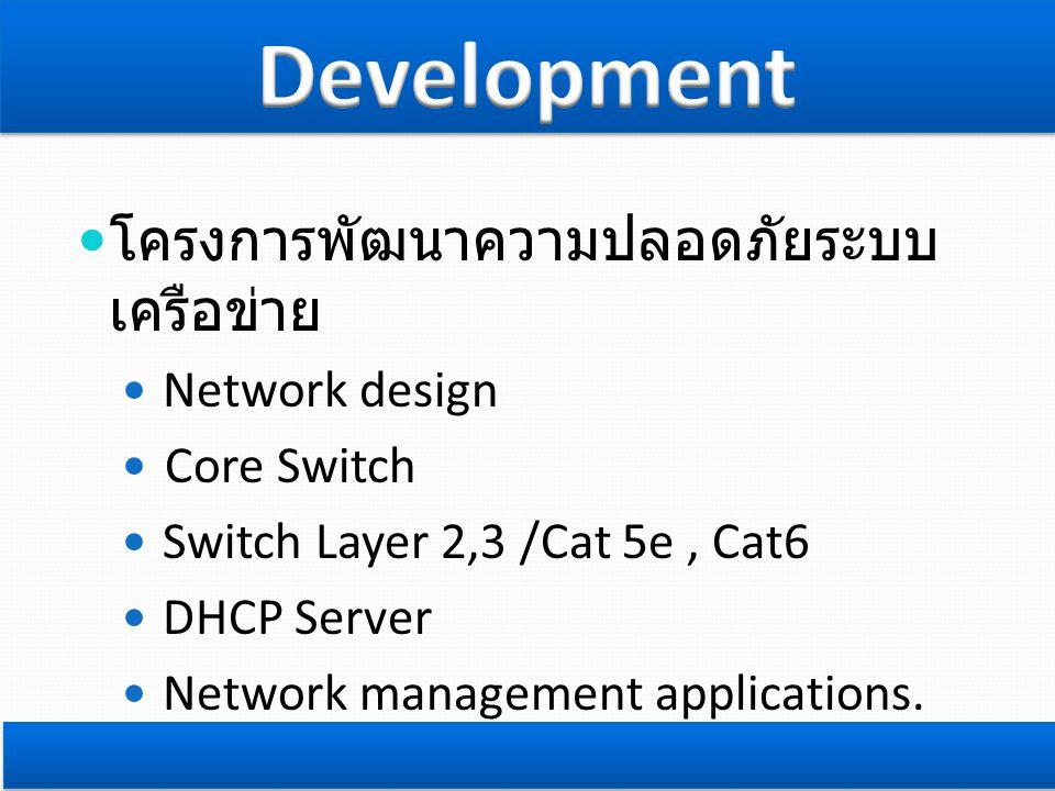 Development โครงการพัฒนาความปลอดภัยระบบเครือข่าย Network design