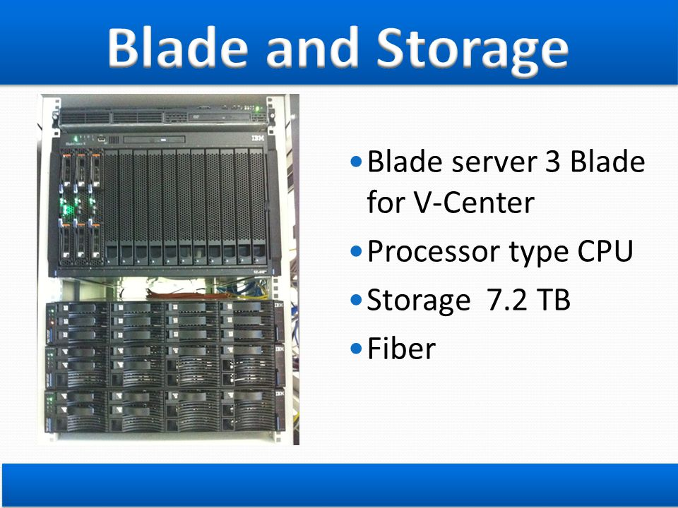 Blade and Storage Blade server 3 Blade for V-Center Processor type CPU