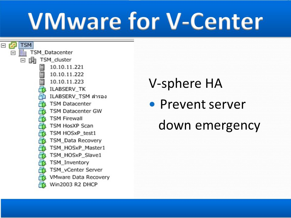 VMware for V-Center V-sphere HA Prevent server down emergency