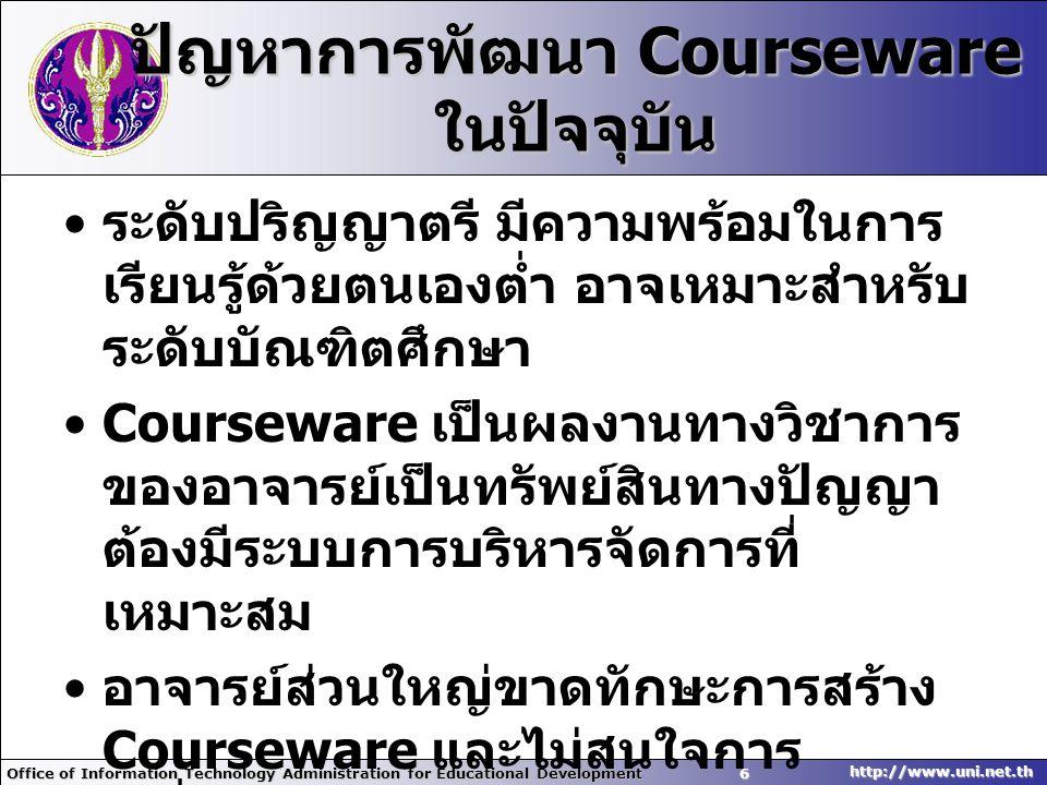 ปัญหาการพัฒนา Courseware ในปัจจุบัน