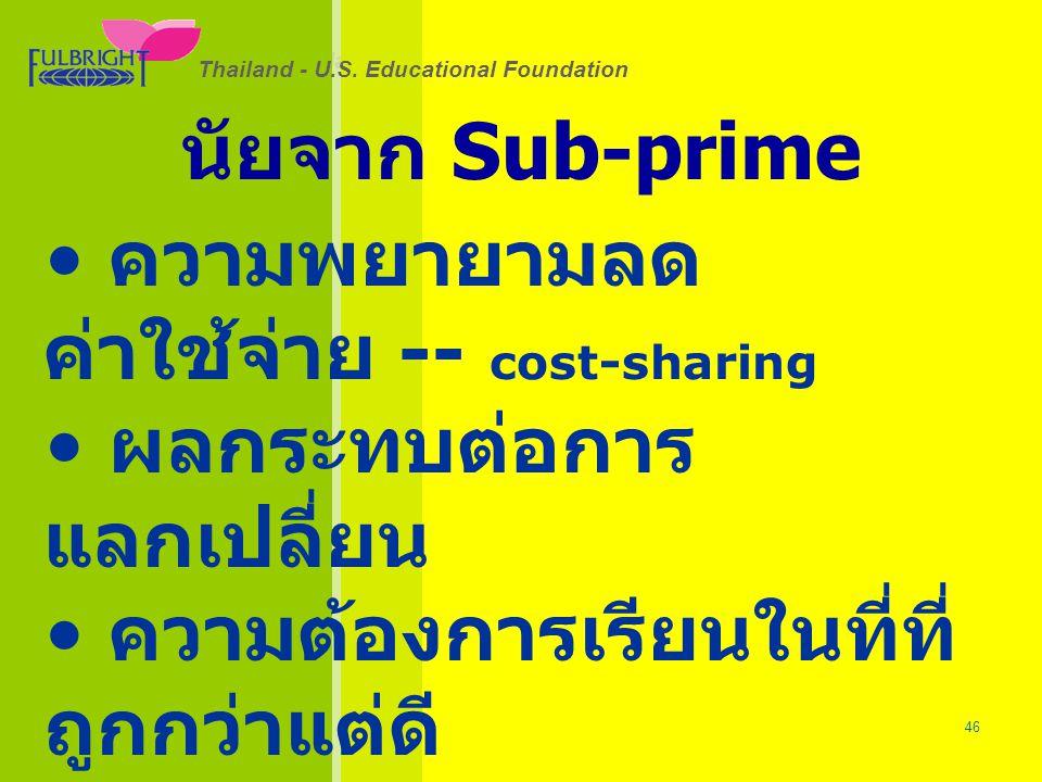 นัยจาก Sub-prime ความพยายามลดค่าใช้จ่าย -- cost-sharing. ผลกระทบต่อการแลกเปลี่ยน. ความต้องการเรียนในที่ที่ถูกกว่าแต่ดี
