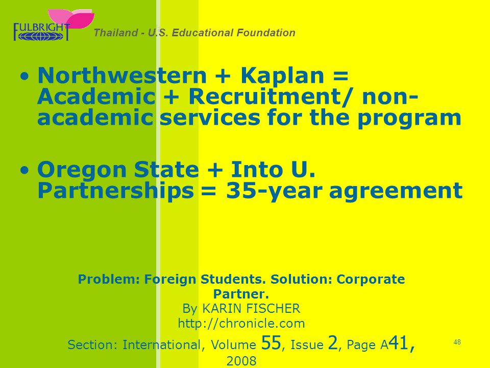 Problem: Foreign Students. Solution: Corporate Partner.