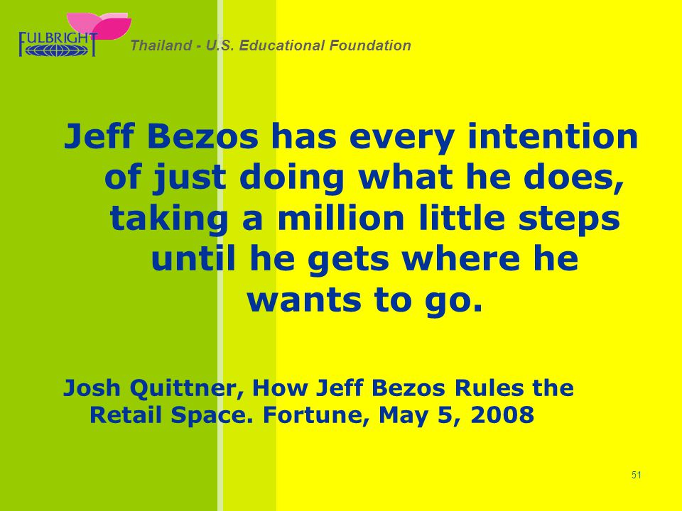Jeff Bezos has every intention of just doing what he does, taking a million little steps until he gets where he wants to go.