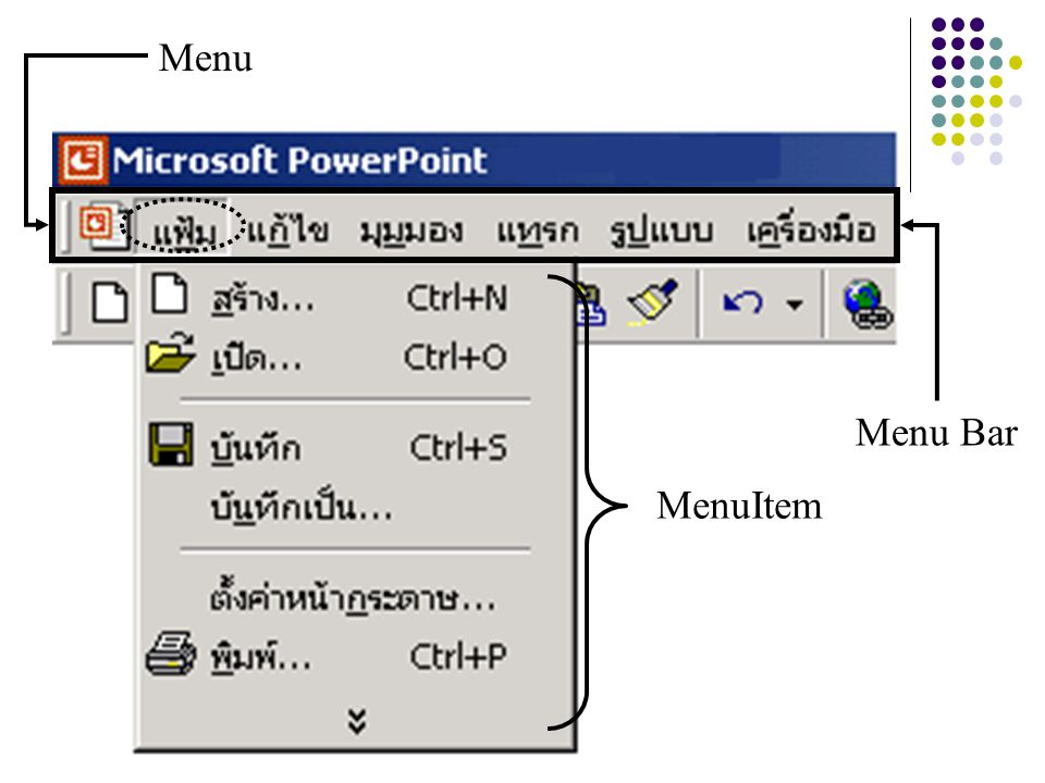 Menu Menu Bar MenuItem