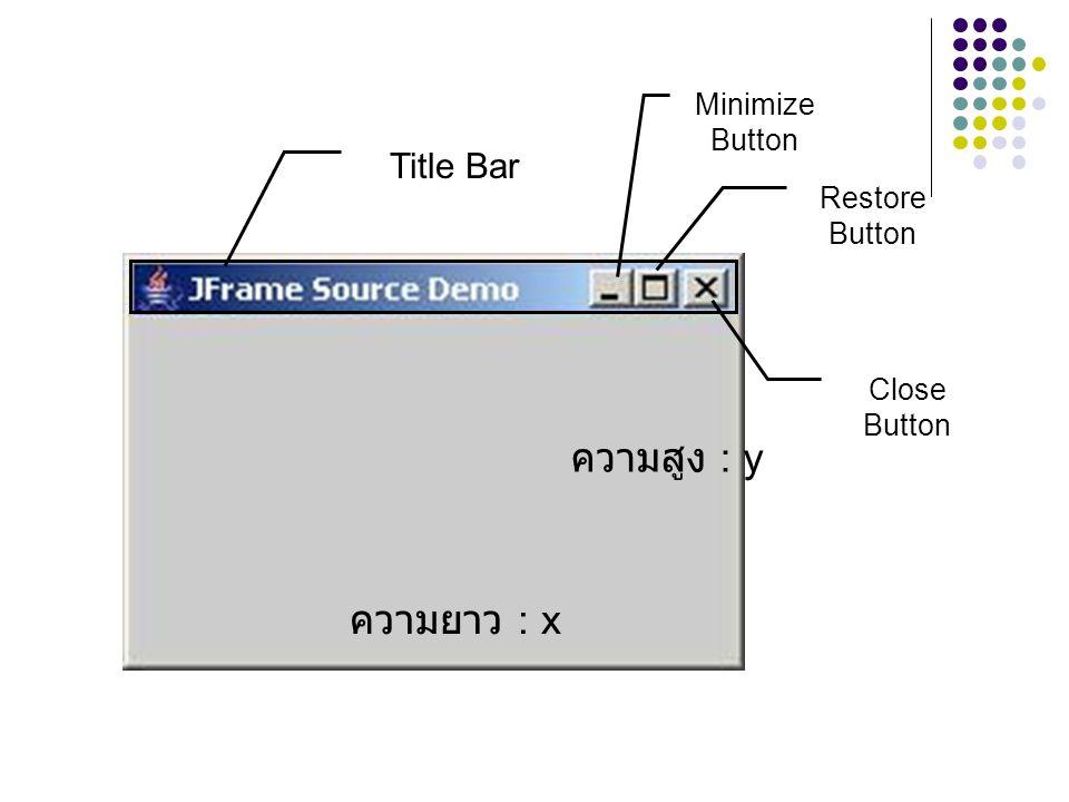 ความสูง : y ความยาว : x Title Bar Minimize Button Restore Button