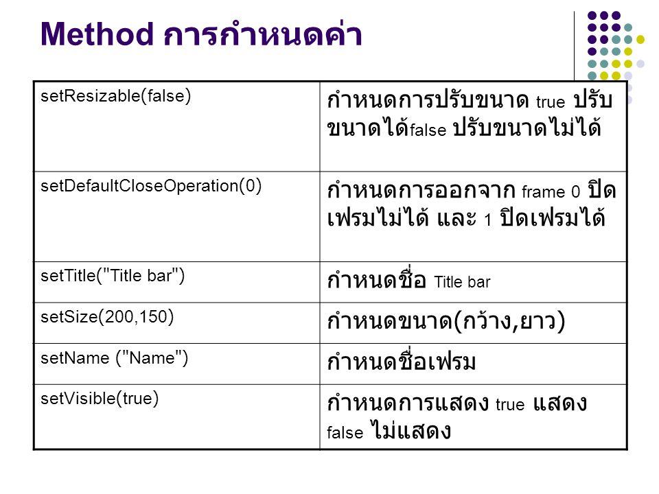Method การกำหนดค่า setResizable(false) กำหนดการปรับขนาด true ปรับขนาดได้false ปรับขนาดไม่ได้ setDefaultCloseOperation(0)