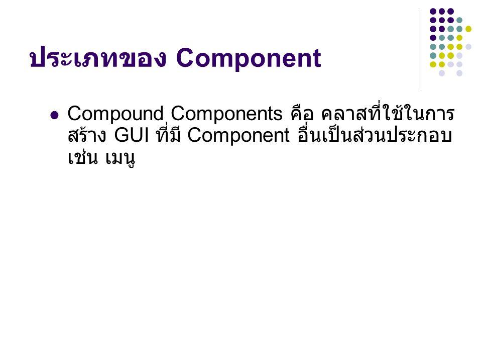 ประเภทของ Component Compound Components คือ คลาสที่ใช้ในการสร้าง GUI ที่มี Component อื่นเป็นส่วนประกอบ เช่น เมนู