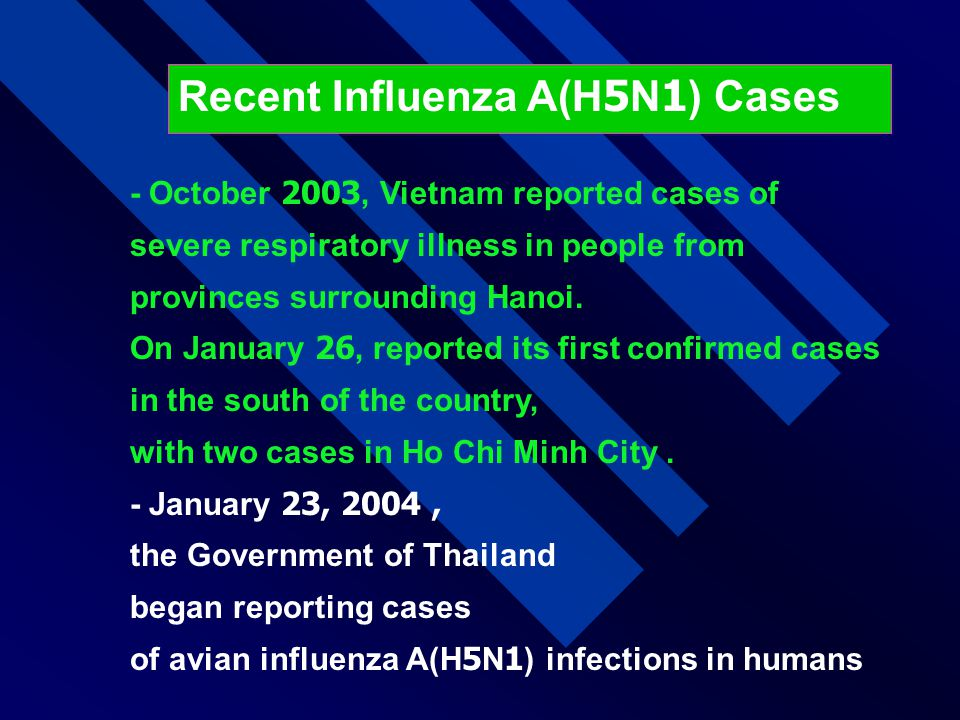 Recent Influenza A(H5N1) Cases