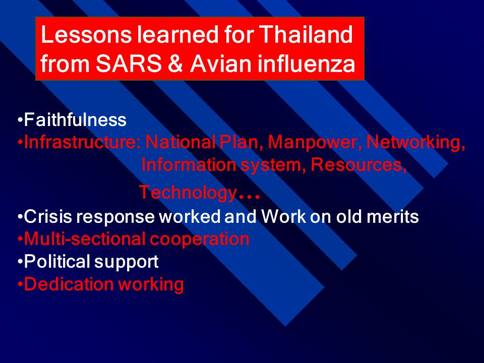 Lessons learned for Thailand from SARS & Avian influenza