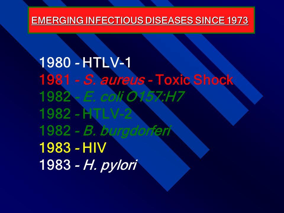1980 - HTLV-1 1981 - S. aureus - Toxic Shock 1982 - E. coli O157:H7