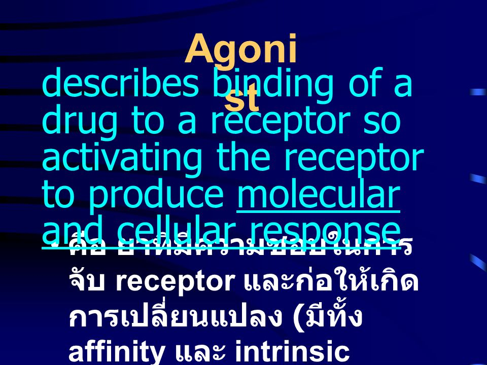 Agonist describes binding of a drug to a receptor so activating the receptor to produce molecular and cellular response.