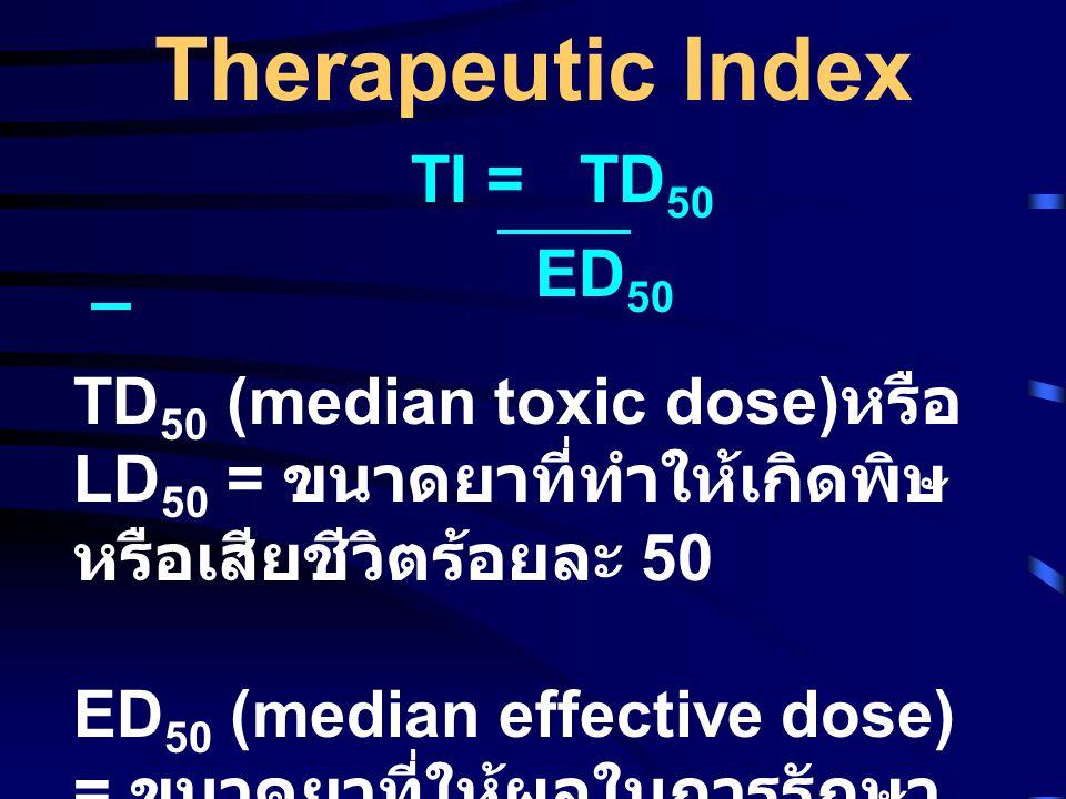 Therapeutic Index TI = TD50 ED50