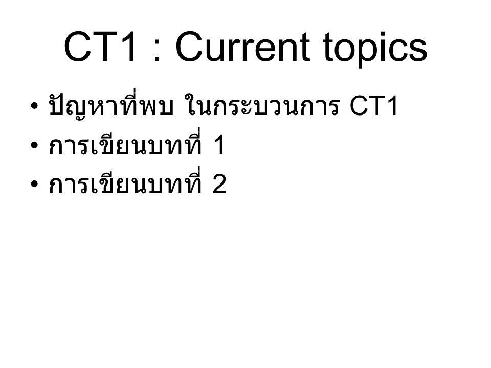 CT1 : Current topics ปัญหาที่พบ ในกระบวนการ CT1 การเขียนบทที่ 1