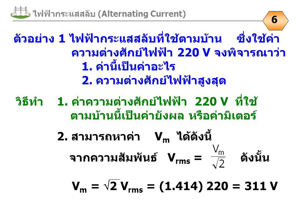 ไฟฟ้ากระแสสลับ (Alternating Current)