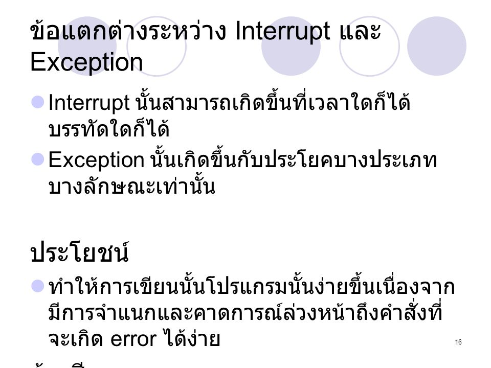 ข้อแตกต่างระหว่าง Interrupt และ Exception