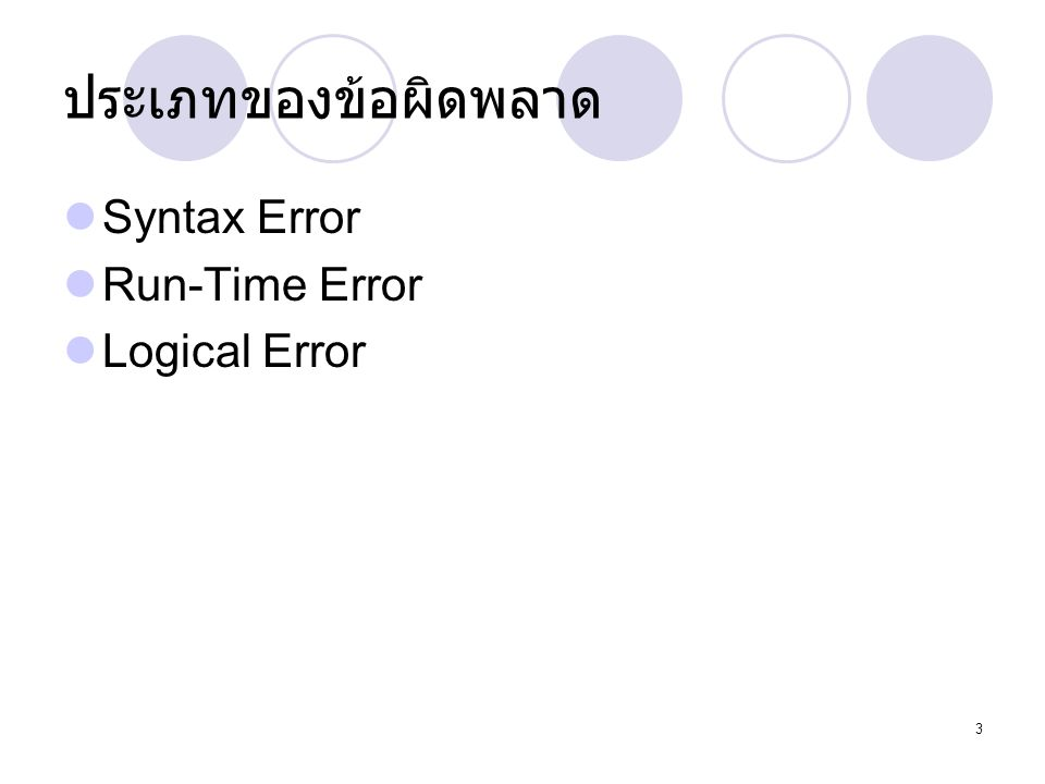 ประเภทของข้อผิดพลาด Syntax Error Run-Time Error Logical Error
