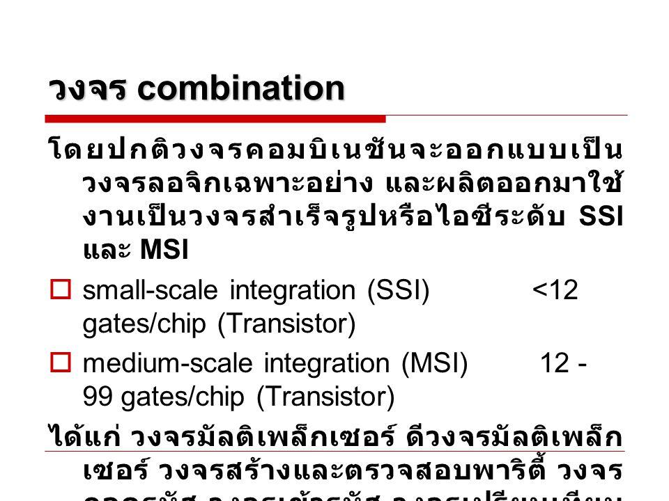 วงจร combination โดยปกติวงจรคอมบิเนชันจะออกแบบเป็นวงจรลอจิกเฉพาะอย่าง และผลิตออกมาใช้งานเป็นวงจรสำเร็จรูปหรือไอซีระดับ SSI และ MSI.