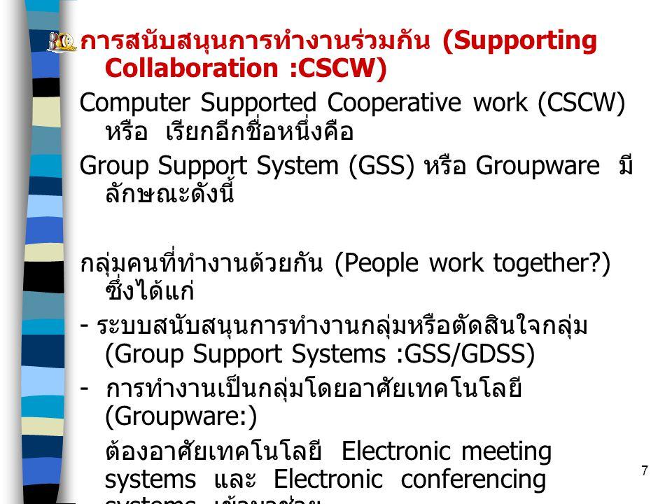 การสนับสนุนการทำงานร่วมกัน (Supporting Collaboration :CSCW)