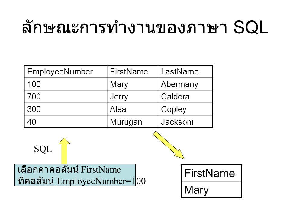 ลักษณะการทำงานของภาษา SQL