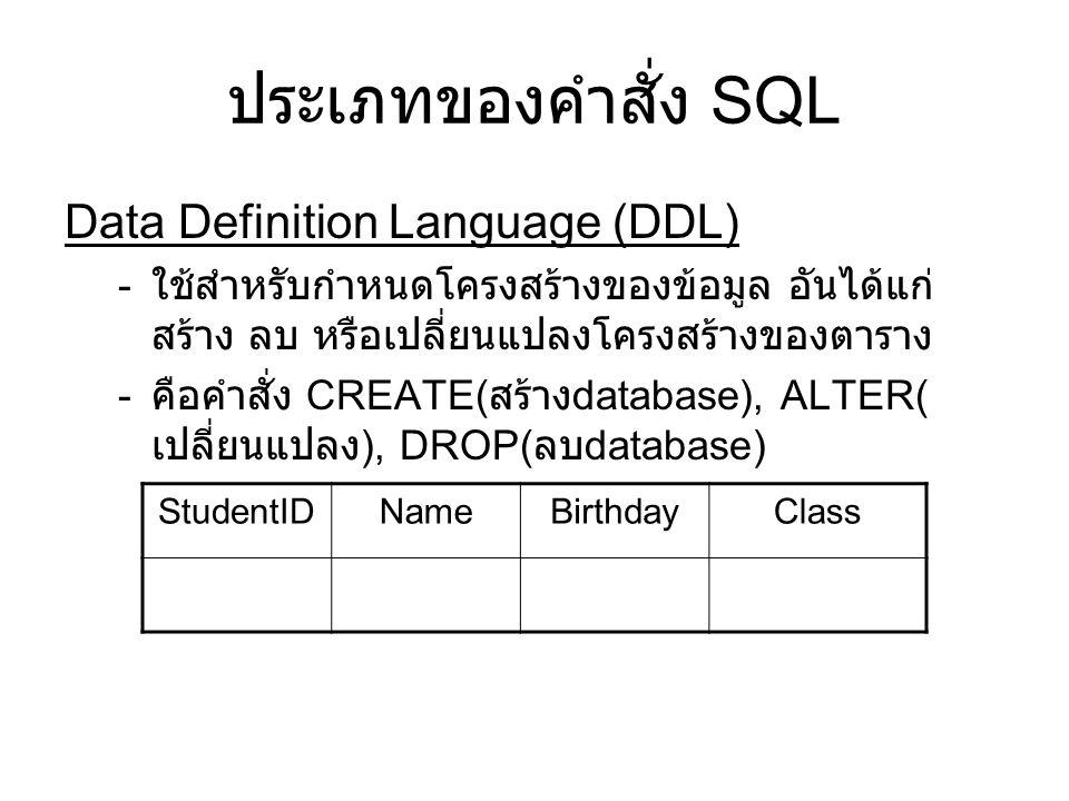ประเภทของคำสั่ง SQL Data Definition Language (DDL)