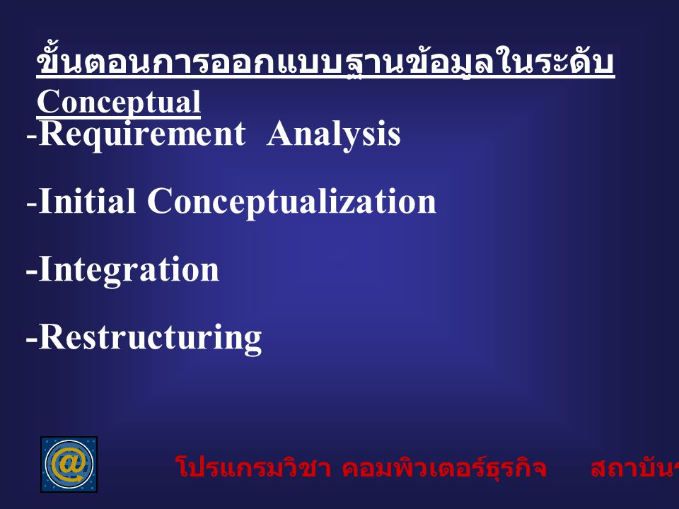 Initial Conceptualization -Integration -Restructuring