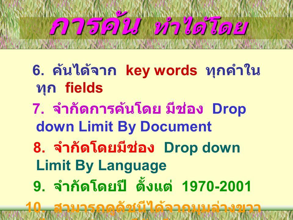 การค้น ทำได้โดย 8. จำกัดโดยมีช่อง Drop down Limit By Language