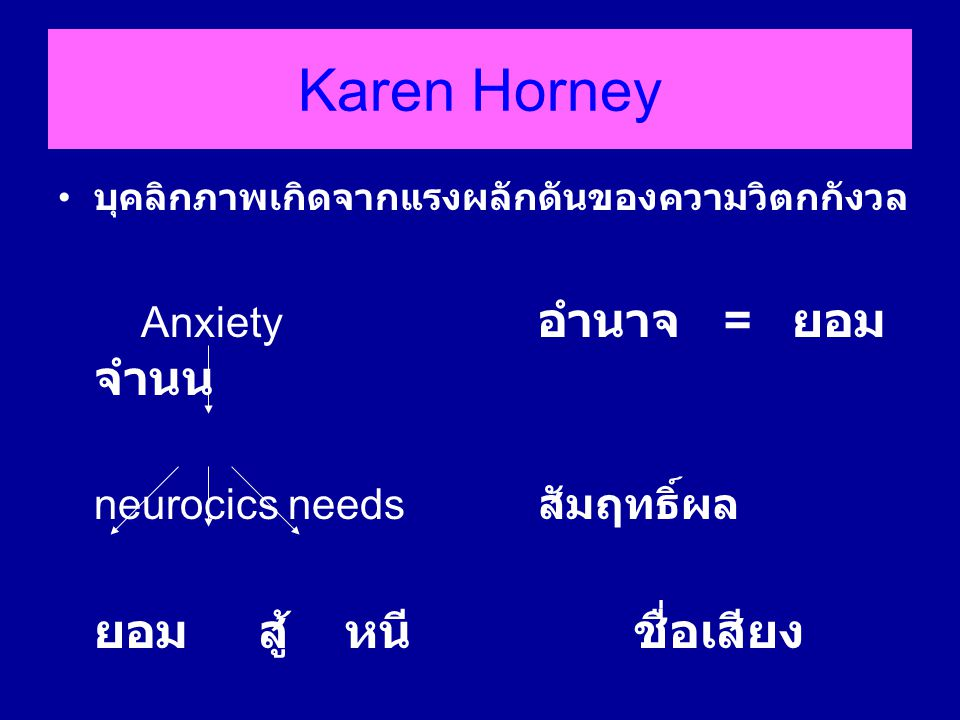 Karen Horney Anxiety อำนาจ = ยอมจำนน neurocics needs สัมฤทธิ์ผล