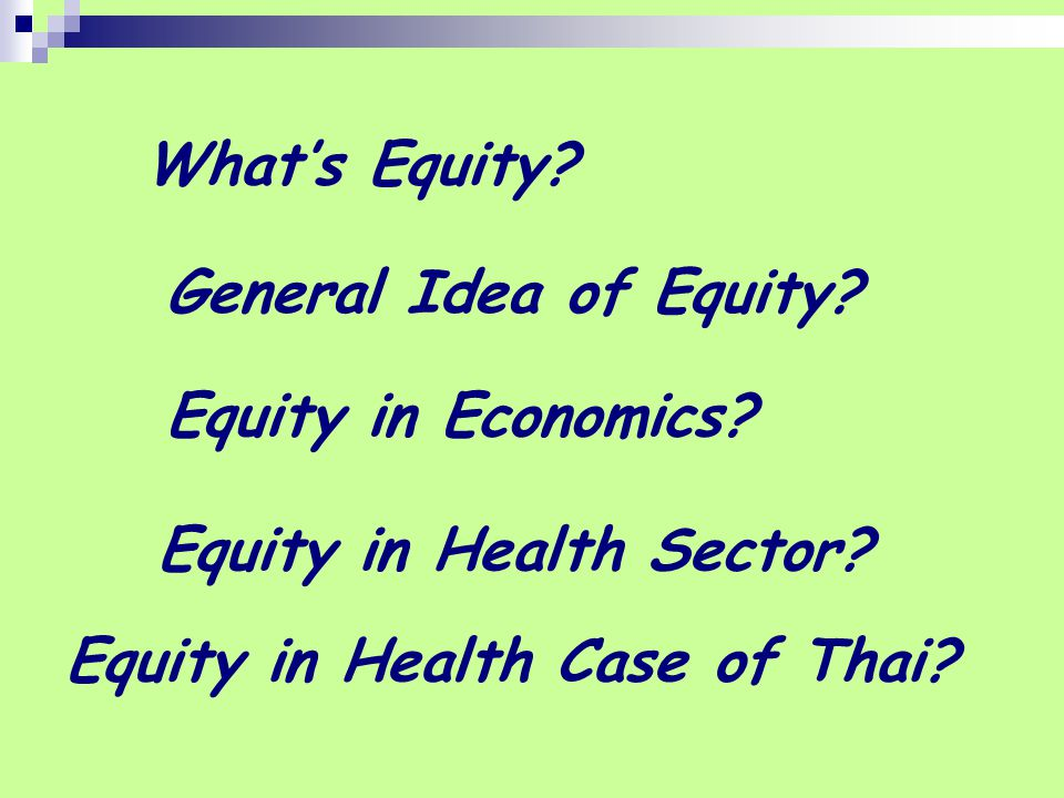 What's Equity. General Idea of Equity. Equity in Economics.