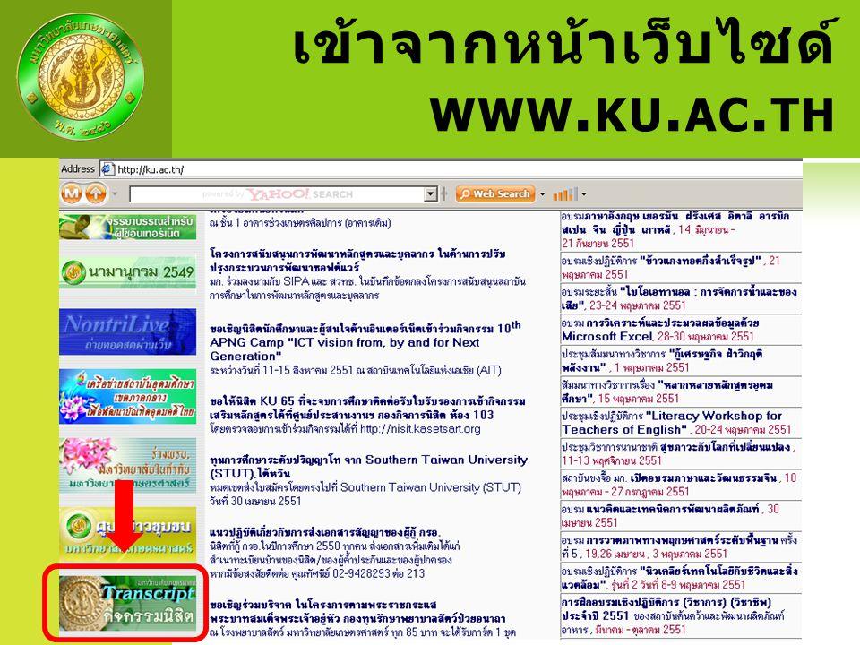 เข้าจากหน้าเว็บไซด์ www.ku.ac.th